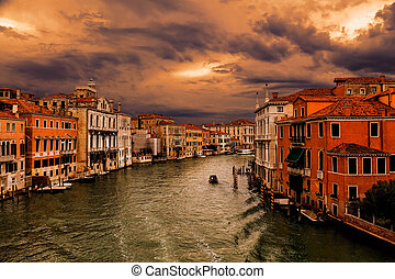 Grand Canal in Venice at sunset. (HDR image)