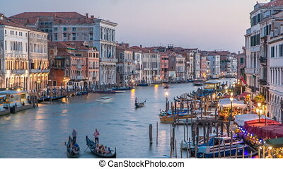 Grand Canal in Venice, Italy day to night timelapse. View on...