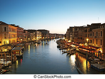 Grand Canal in Venice - Italy - Grand Canal after sunset.