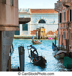 Grand Canal in Venice, Italy - View to Grand Canal with...