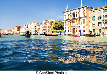 Grand Canal in Venice Italy. Wide angle view.