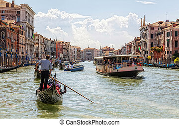 Grand Canal in Venice on a sunny day