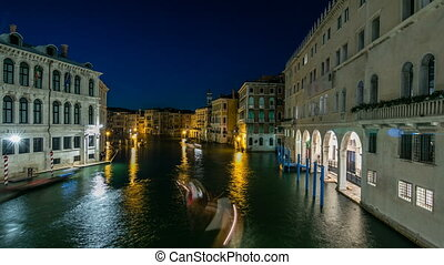 Grand Canal in Venice timelapse, Italy at night. View on...