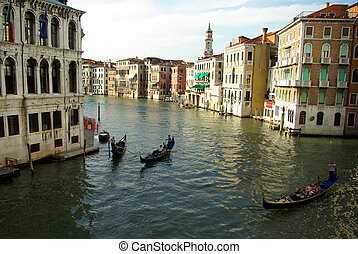 View of the grand canal from the rialto bridge in Venice