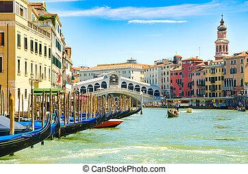Canal in Venice - Grand Canal in Venice with Rialto Bridge