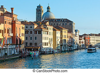 Grand Canal morning view. Venice, Italy.