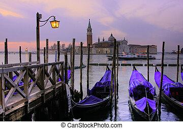 grand canal, venedig, hos, dusk.