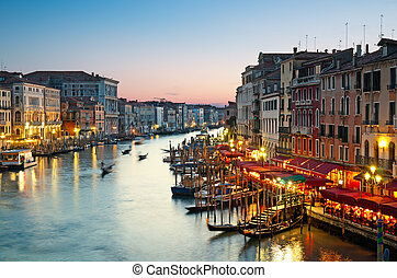 Grand Canal, Venice - Italy - Grand Canal after sunset.