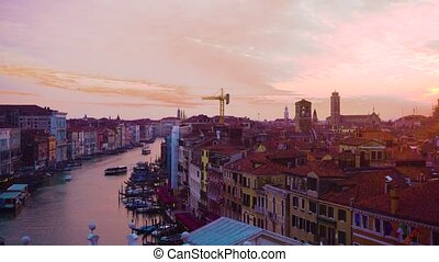 Grand canal, Venice, Italy - Grand Canal and colorful pink...