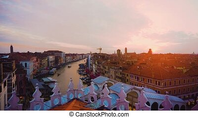 Grand canal, Venice, Italy - Grand Canal and colorful sunset...
