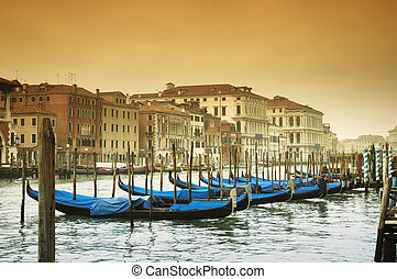 Grand Canal, Venice - Italy - Grand Canal and gondolas