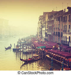 Grand Canal, Venice - Italy - Grand Canal at a foggy evening...