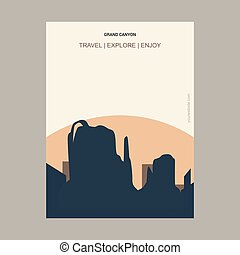 Grand Canyon Arizona, United States Vintage Style Landmark Poster Template
