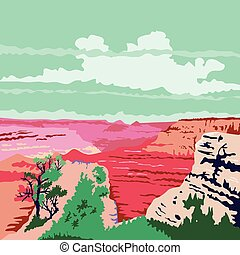 Grand Canyon Arizona WPA - WPA style illustration of the...