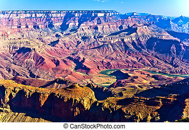 Grand canyon at sunset with river Colorado