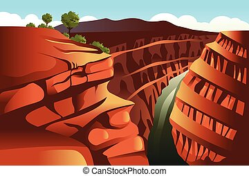Grand Canyon background - A vector illustration of Grand...