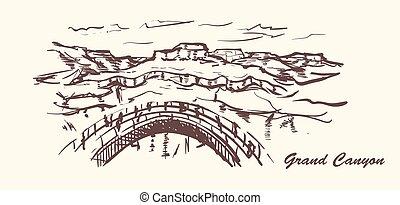 Grand canyon hand drawn style. Arizona sketch illustration.