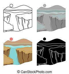 Grand Canyon icon in cartoon style isolated on white background. USA country symbol stock vector illustration.