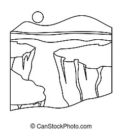 Grand Canyon icon in outline style isolated on white background. USA country symbol bitmap, rastr illustration.