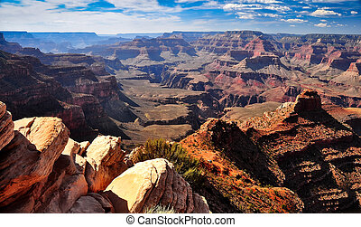 Grand canyon landscape view with rocks foreground