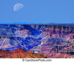 Grand Canyon Moon - Large moon afternoon in the Grand Canyon