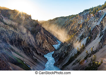 Grand Canyon of Yellowstone at sunrise