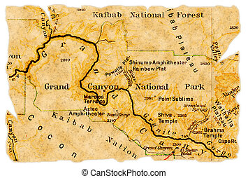 Grand Canyon National Park on an old torn map from 1949, isolated. Part of the old map series.