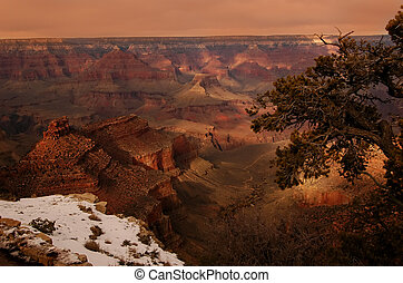 Grand Canyon in winter with snow in foreground