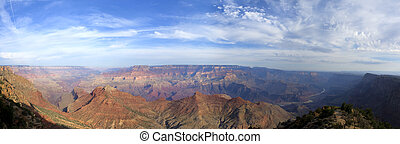 Grand Canyon South Rim Sunrise - Panoramic view of Grand...