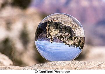 Grand Canyon through a lens ball