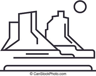 grand canyon vector line icon, sign, illustration on background, editable strokes