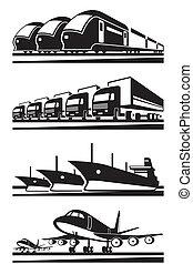 grand, cargaison, transport