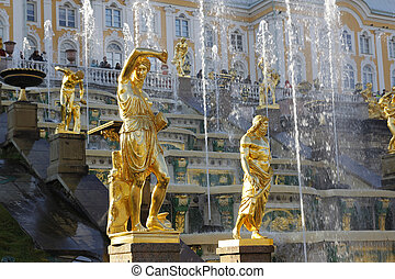 Grand Cascade Fountains At Peterhof Palace, St. Petersburg.