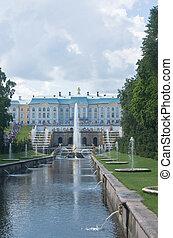 Grand Cascade Fountains at Peterhof Palace garden, St. Petersbur