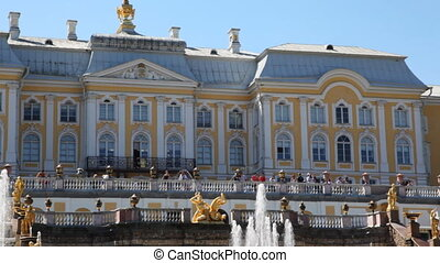 Grand Cascade fountains in front of Royal Petrodvorets