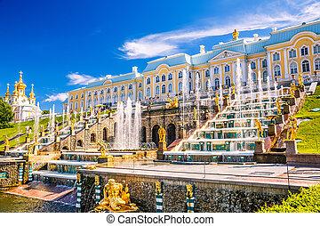 Grand Cascade in Peterhof, St Petersburg - Grand Cascade and...