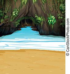 grand, caverne