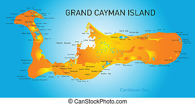Grand Cayman islands vector map