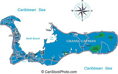 Grand Cayman map - Highly detailed vector map of Grand...
