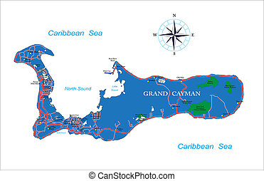 Highly detailed vector map of Grand Cayman with main cities and roads.