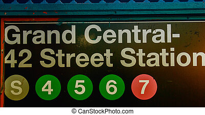 Grand Central - 42 Street subway station entrance sign - NYC