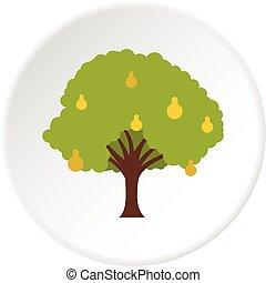 grand, cercle, arbre fruitier, icône