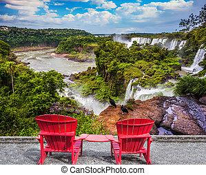 grand, chaises, deux, rouges, plastique