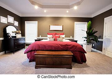 grand, chambre à coucher, intérieur