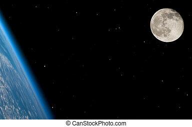 grand, champ, entiers, étoile, lune
