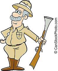 grand, chasseur, grand, jeu, tenue, dessin animé, rifle.
