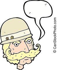 grand, chasseur, victorien, jeu, bulle discours, dessin animé