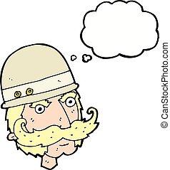grand, chasseur, victorien, pensée, jeu, bulle, dessin animé