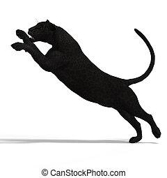 grand chat, léopard, noir