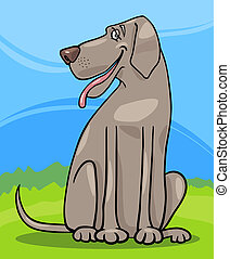 grand, chien, danois, illustration, dessin animé